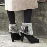 粗跟高跟短靴女冬季2018新品厚底水台马丁靴加绒女靴子