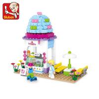 小鲁班拼装积木 儿童益智拼插塑料玩具雪糕屋模型女孩6岁以上
