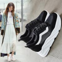 ZHR2019夏季新品休闲鞋女韩版内增高透气舒适平底时尚百搭运动鞋系带