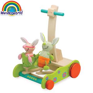 [当当自营]泰国Wonderworld 小兔学步车 学步推车 毛绒玩具 益智儿童木质玩具