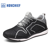 红蜻蜓旗下品牌HONCHIEF 春秋新款时尚男士运动鞋拼色舒适系带休闲鞋