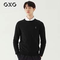 GXG男装 秋季男士时尚青年韩版流行休闲基础黑色低领毛衫毛衣男