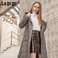 Lagogo拉谷谷2019年冬季新款女复古中长款毛呢大衣外套HCDD34XA55