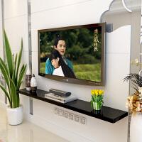 一字板电视柜 电视背景墙装饰架墙面电视柜机顶盒架壁挂墙上置物架壁柜一字隔板 【钢琴烤漆】200cm长圆角 白