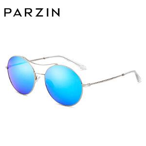 帕森时尚偏光太阳镜 女式金属复古圆框炫彩膜潮墨镜驾驶镜 8082