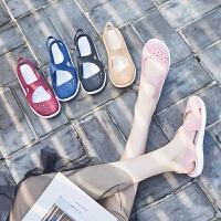 夏季新款洞洞鞋女果冻鞋平底防滑沙滩鞋女凉鞋包头花园凉拖鞋