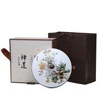 陶瓷汝窑茶叶罐粗陶大号普洱茶叶包装盒带盖醒茶罐密封储物罐