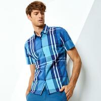 七匹狼短袖衬衫 夏季青年男士潮流时尚方领纯棉格子休闲衬衫