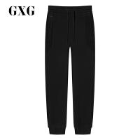 GXG男士 秋季男装时尚都市青年黑色简约隐形口袋设计小脚休闲裤