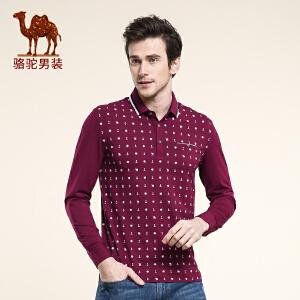 骆驼男装 春季新品翻领印花休闲长袖T恤 商务休闲T恤衫 男士