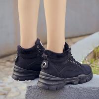 厚底马丁靴潮流加绒棉女鞋保暖高帮休闲鞋冬季保暖短靴百搭雪地靴 黑色 D03K