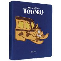 英文原版 龙猫 蓝绒面笔记本 My Neighbor Totoro Cat Bus 宫崎骏电影周边礼品书 吉卜力工作室