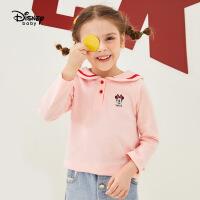 迪士尼童装儿童秋冬上衣宝宝打底衫女童时尚复古海军领长袖T恤