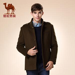 骆驼男装 新品秋款青年无帽立领中长款纯色英伦长袖大衣男
