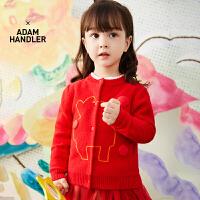 【秒杀价:180元】马拉丁童装女小童毛衣春装2020年新款新年红色毛衣开衫外套