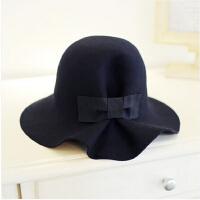 时尚休闲【羊毛呢】韩国风蝴蝶结盆帽复古礼帽渔夫帽韩版大檐圆顶帽子