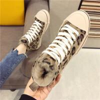 休闲板鞋女2018秋冬新款时尚圆头复古豹纹高帮鞋英伦风休闲板鞋