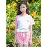 女童运动套装夏季新款时尚中大童儿童女孩短袖短裤两件套