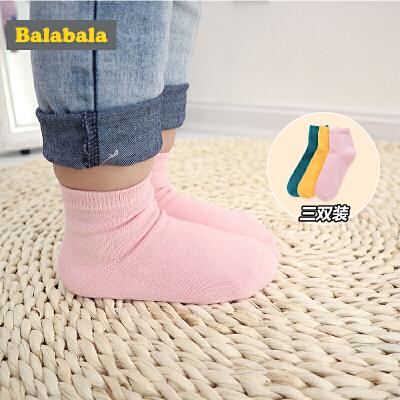 巴拉巴儿童袜子女童棉春季新款宝宝棉袜短袜纯色中大童日系三双装