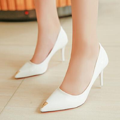 高跟鞋女春秋2017新款白色韩版优雅百搭9公分单鞋性感公主工作皮