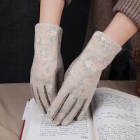 羊毛手套女秋冬季加绒保暖优雅触屏手套骑行开车绣花分指羊绒手套