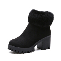 学院风加绒保暖学生短靴2018新款高跟粗跟侧拉链雪地靴圆头女靴子