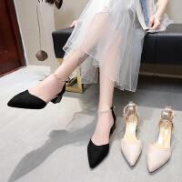 尖头中跟单鞋女户外法式少女高跟鞋百搭粗跟流行女鞋
