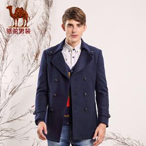 骆驼男装 秋季新款微弹西装领毛呢外套 青春潮流呢大衣长款男