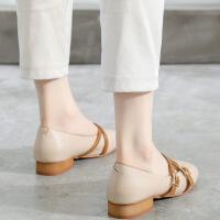 浅口玛丽珍鞋女2019新款韩版百搭中跟单鞋女秋复古低跟奶奶鞋粗跟