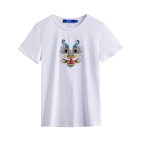 夏装女装刺绣圆领短袖潮流T恤女上衣