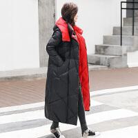 新年特惠羽绒服女长款过膝2019新款韩版时尚宽松黑色中长款冬季加厚外套潮