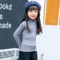 儿童针织衫 女童毛衣加厚加绒针织半高领打底衫2020冬季新款女孩韩版可爱套头衫