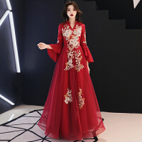 新年特惠中式敬酒服新娘冬季2019新款长款长袖红色结婚礼服女中国风回门服