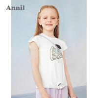 【2件4折价:79.6】安奈儿童装女童T恤夏季薄款女孩上衣2021新款全棉洋气女宝宝体恤