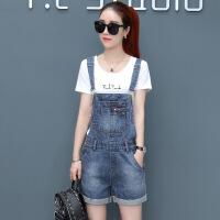 牛仔背带裤女夏季2019新款韩版时尚宽松小个子穿搭套装夏天两件套 蓝色+T恤