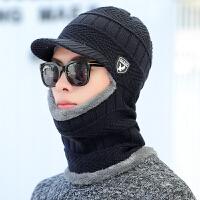 护耳帽子男冬天加绒围脖一体毛线帽帽加厚骑车护颈针织连体帽秋冬