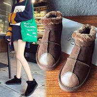 BANGDE雪地靴女短筒韩版百搭学生懒人冬季一脚蹬保暖加绒棉鞋面包鞋