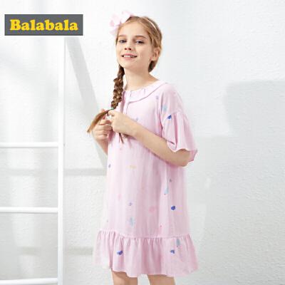 【4件3折价:50.7】巴拉巴拉女童睡衣薄款夏装新款儿童家居服公主睡裙短袖裙子女