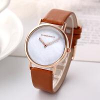 日本机芯贝壳表面新简约皮带手表 女款学生女士防水石英手表