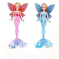 女孩生日礼物唱歌白雪会发光的美人鱼公主洋娃娃玩具儿童节礼盒 32-38厘米左右
