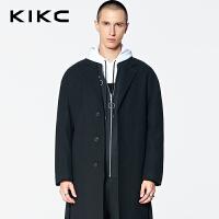 【3折价:539.7】kikc毛呢大衣男2018冬季新款韩版黑色西装领宽松加厚中长款外套男