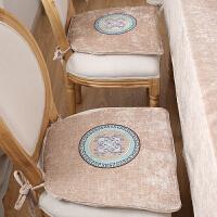 新中式椅垫坐垫布艺可拆洗实木椅垫马蹄形欧式餐桌椅垫k 41*43CM梯形圆角椅垫