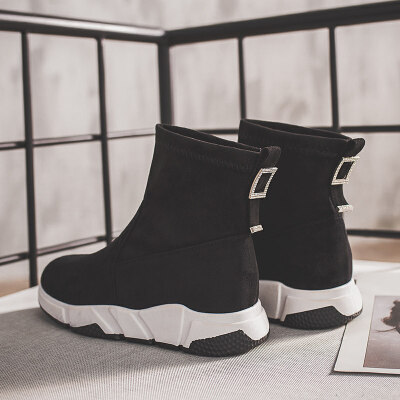 弹力袜子鞋女2019秋冬季新款韩版百搭高帮运动休闲网红短靴袜靴潮
