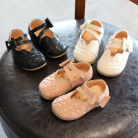女童皮鞋女宝宝单鞋2018春秋季新款儿童鞋子编织甜美小女孩公主鞋