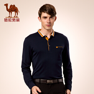 骆驼男装 冬款新品微弹翻领纯色T恤 商务休闲长袖t恤 男士