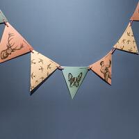 孩派 生日用品 复古花园派对彩旗 三角纸彩旗 生日聚会装饰拉花