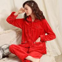 红色珊瑚绒睡衣女秋冬款长袖加厚保暖结婚本命年法兰绒家居服套装 Y9101A红色