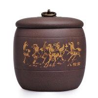 精品宜兴紫砂茶叶罐醒茶罐茶道配件八骏马普洱茶罐
