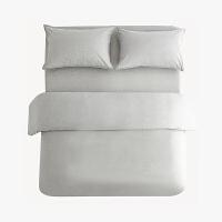 当当优品色织四件套 纯棉日式水洗磨毛床品 双人加大1.8米床 麻灰