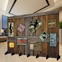 美式工业风屏风 欧式餐厅屏风隔断玄关门客厅酒店办公室咖啡厅可移动实木复古折屏